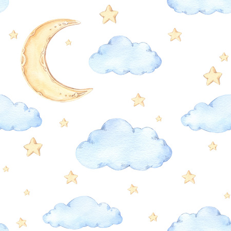 Watercolor seamless pattern - moon and stars. Ideas for a children's room. Good night. Baby shower party elements. Perfect for prints, postcards, prints, greeting cards, fabric etc