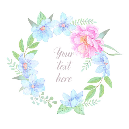Watercolor illustration. Floral wreath with leaves, peonies and blue flowers. Perfect for Wedding invitation or greeting card. Ready to use card. Save the date. Stock Photo