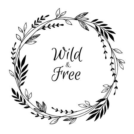 Hand drawn vector illustration. Vintage decorative laurel wreath. Tribal design elements. Perfect for invitations, greeting cards, blogs, prints and more. Illustration