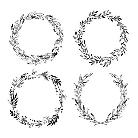Ilustración de vector dibujado a mano. Guirnaldas de laurel decorativas vintage. Elementos de diseño tribal Perfecto para invitaciones, tarjetas de felicitación, blogs, impresiones y más.
