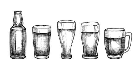 Illustrazioni vettoriali disegnati a mano - bicchieri e tazze di birra. Octoberfest o festa della birra. Elementi di design in stile incisione. Perfetto per inviti, biglietti di auguri, poster, stampe