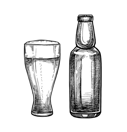 Hand drawn vector illustration - beer glass and bottle. Octoberfest or beer fest. Design elements in engraving style. Perfect for invitations, greeting cards, posters, prints