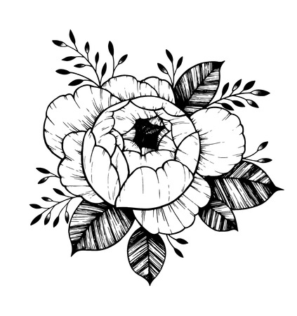 Hand drawn vector illustration - Peony flower. Floral Tattoo sketch. Perfect for tattooing, invitations, greeting cards, quotes, blogs, posters etc. Ilustração