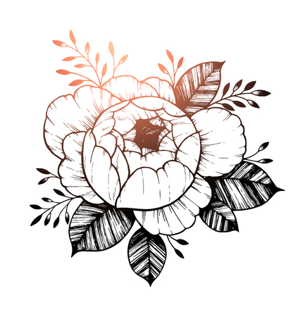 Hand drawn vector illustration - Peony flower. Floral Tattoo sketch. Perfect for tattooing, invitations, greeting cards, quotes, blogs, posters etc. Illustration