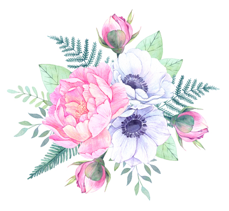 Watercolor illustration. Bucket with Floral elements. Bouquet with peonies, anemone flowers, leaves and branches. Perfect for Wedding invitation, greeting card, prints or posters.