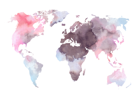 Watercolor illustration. Colorful World map. Watercolor abstract background. Perfect for wedding invitations, greeting cards, prints