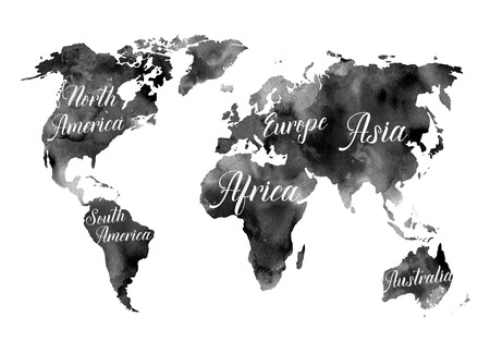 Watercolor illustration black world map with colorful flowers watercolor illustration black world map with the names of the continents watercolor abstract background gumiabroncs Choice Image