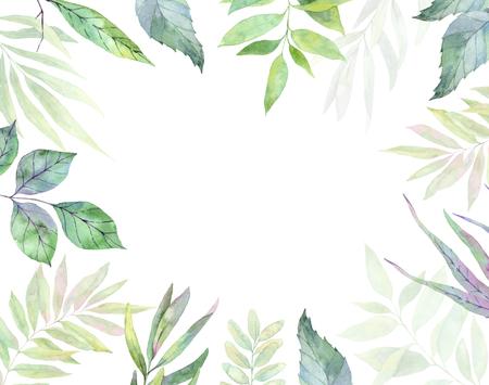 손으로 그린 수채화 그림입니다. 식물 클립 아트. 녹색 잎, 나물 및 분기 프레임입니다. 플로랄 디자인 요소입니다. 청첩장, 인사 장, 지문에 적합 스톡 콘텐츠