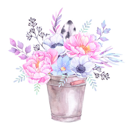 Watercolor illustration. Bucket with Floral elements. Bouquet with peonies, anemones, blue flowers, leaves and branches. Perfect for Wedding invitation, greeting card, prints or posters. Stock Photo