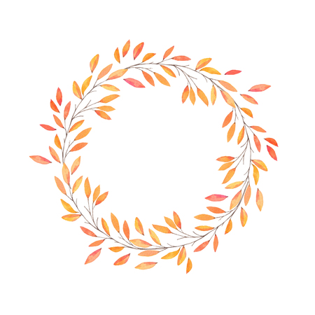 Hand drawn watercolor illustration. Autumn Wreath. Fall leaves. Perfect for wedding invitations, greeting cards, blogs, prints and more