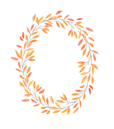 leaf logo: Hand drawn watercolor illustration. Autumn Wreath. Fall leaves. Perfect for wedding invitations, greeting cards, blogs, prints and more