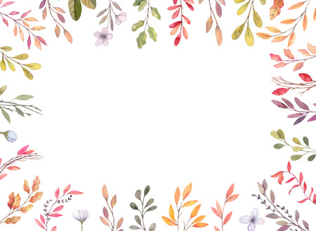 Hand drawn watercolor illustrations. Autumn Botanical border. Set of fall leaves and branches. Floral frame. Perfect for invitations, greeting cards, blogs, posters, prints
