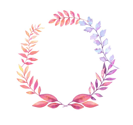 Hand drawn watercolor illustration. Laurel Wreath with leaves and branches. Perfect for wedding invitations, greeting cards, prints, postcards and more Stock Photo