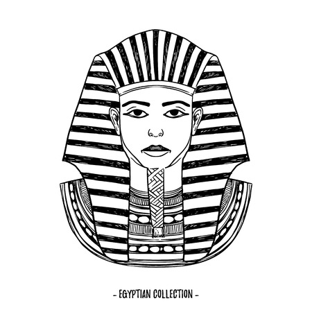 Hand drawn vector illustration - Egyptian collection. The pharaon of ancient Egypt, Tutankhamen. Perfect for invitation, web, postcard, poster, textile, print etc.