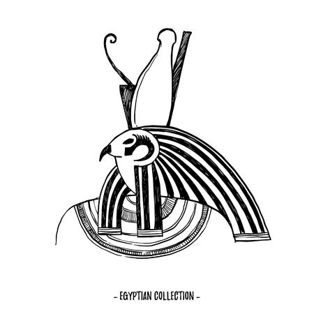 Illustrazione vettoriale disegnato a mano - collezione egiziana. Gli dei dell'antico Egitto, Horus. Perfetto per invito, web, cartoline, poster, tessuti, stampe, ecc.