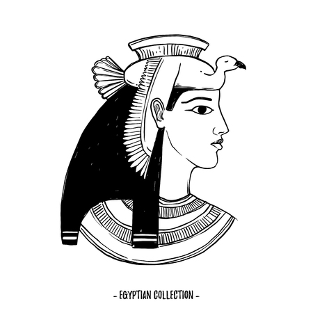 손으로 그린 된 벡터 일러스트 레이 션 - 이집트 컬렉션. 고대 이집트, 여신 Isis의 신들. 초대장, 웹, 엽서, 포스터, 섬유, 인쇄물 등에 적합합니다.
