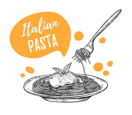 手には、ベクトルのイラストが描かれました。デザイン テンプレート - パスタです。イタリア料理。スケッチ スタイルのデザイン要素です。最適な