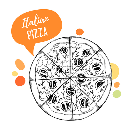 margherita: Hand drawn vector illustrations. Design template - Pizza. Italian food. Design elements in sketch style. Perfect for menu, delivery, blogs, restaurant banners, prints etc