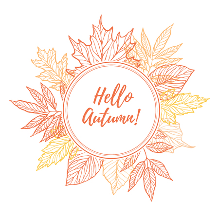 Hand drawn vector illustration. Round emblem with Fall leaves. Forest design elements. Hello Autumn!