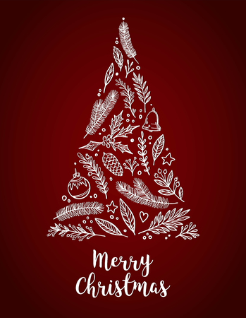 Hand drawn vector illustration - Christmas tree with holiday elements composition. Merry Christmas card with lettering. Perfect for invitations, greeting cards, prints, flyers, posters etc Illustration