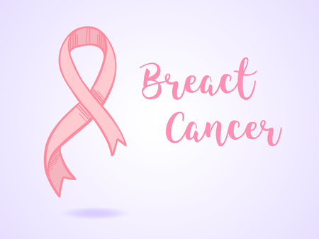 Hand drawn vector illustration - card with pink cancer ribbon. Breast cancer awareness.