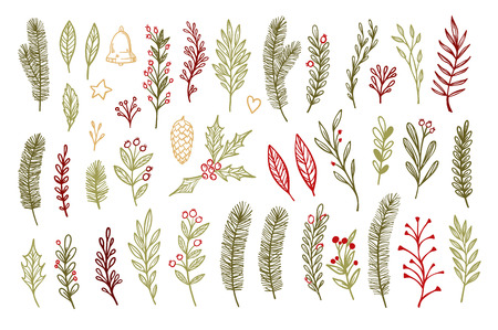 Hand sketched vector vintage elements ( laurel, frame, leaf, poinsettia, holly, fir branches, berry, pine cone). Christmas design elements. Perfect for invitations, greeting cards, posters, prints