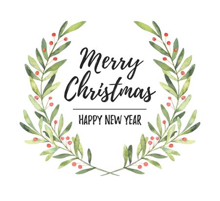 Aquarel illustratie. Kerst lauwerkrans. Perfect voor uitnodigingen, wenskaarten, blogs, posters en meer. Vrolijk kerstfeest en een gelukkig nieuwjaar