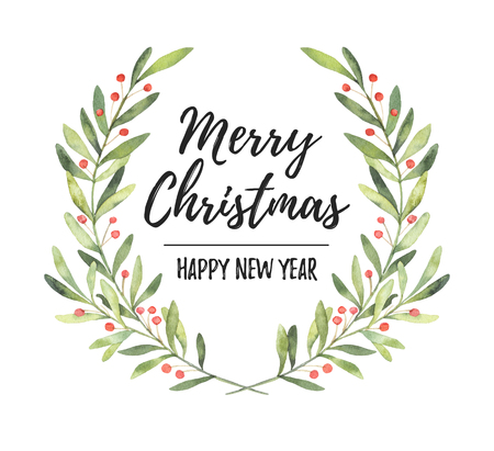 Watercolor illustration. Christmas laurel wreath. Perfect for invitations, greeting cards, blogs, posters and more. Merry christmas and happy new year Foto de archivo