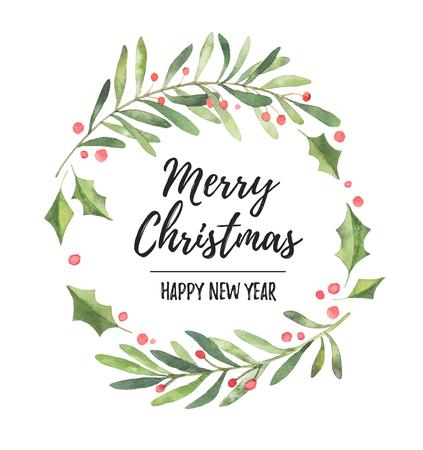 수채화 그림입니다. 크리스마스 로렐 화 환입니다. 초대장, 인사 장, 블로그, 포스터 및 기타에 적합합니다. 즐거운 성탄절 보내시고 새해 복 많이 받으