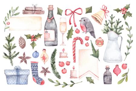 수채화 그림입니다. 장식 크리스마스 요소를 꽃 요소, 크리스마스 장식, 종소리, 샴페인, 레이블 등 초대장, 인사말 카드, 인쇄 및 완벽 한. 즐거운 성탄