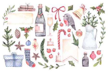 Watercolor illustration. Decorative christmas elements with floral elements, christmas decorations, bells, champagne, labels etc. Perfect for invitations, greeting cards, prints and more. Merry christmas and happy new year Foto de archivo