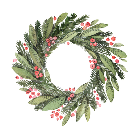 Watercolor illustration. Decorative christmas laurel wreath. Perfect for invitations, greeting cards, blogs, posters and more. Merry christmas and happy new year