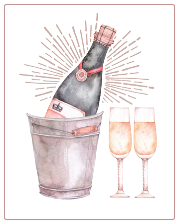 Watercolor illustration. Decorative christmas card with champagne and glasses. Perfect for invitations, greeting cards, blogs, posters and more. Merry christmas and happy new year