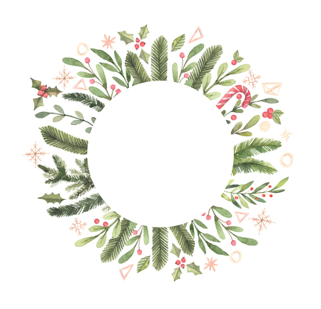 Merry Christmas. Winter Watercolor circle label with snowflakes, holly, mistletoe, spruce branch. Hand drawn illustration. Perfect for invitations, greeting cards, prints, posters, advertising