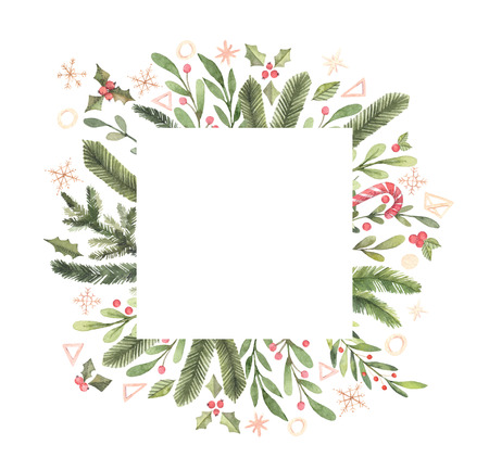 Merry Christmas. Winter Watercolor label with snowflakes, holly, mistletoe, spruce branch. Hand drawn illustration. Perfect for invitations, greeting cards, prints, posters, advertising