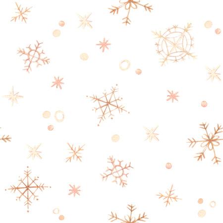 冬の背景。手描き水彩シームレスパターン - 金の雪片と雪。私はあなたにメリークリスマスを願っています。招待状、グリーティングカード、ポス 写真素材
