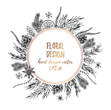 Vector illustrations - Winter gold label with fir branches and other floral elements. Hand drawn Christmas frame. Perfect for invitations, greeting cards, tattoo, prints, postcards etc