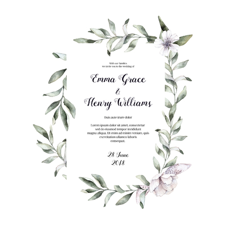 Hand drawn watercolor illustration. Botanical wedding invitation with green branches. Save the date. Floral Design elements. Perfect for invitations, greeting cards, prints, posters, packing etc