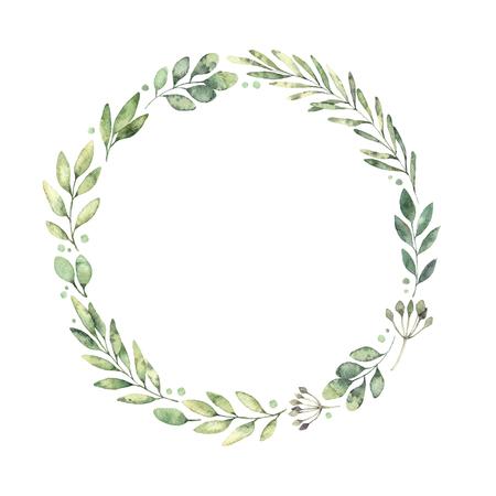 손으로 그린 수채화 그림입니다. 녹색 분기와 나뭇잎의 식물 화 환입니다. 봄 분위기. 플로랄 디자인 요소입니다. 초대장, 인사 장, 지문, 포스터, 포장  스톡 콘텐츠