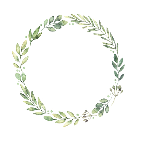 Illustrazione disegnata a mano dell'acquerello Corona botanica di rami e foglie verdi. Umore primaverile. Elementi di design floreale. Perfetto per inviti, biglietti di auguri, stampe, poster, imballaggi ecc Archivio Fotografico - 94961138
