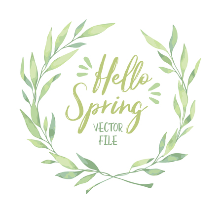 Vector watercolor illustration. Hello spring! Laurel Wreath. Floral design elements. Perfect for wedding invitations, greeting cards, blogs, logos, prints and more