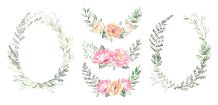 Watercolor illustration. Botanical wreaths with green branches and peonies. Spring mood. Floral Design elements. Perfect for invitations, cards of international women's day, prints and posters Imagens - 98216329
