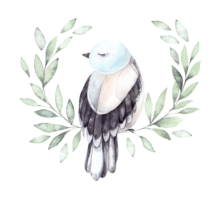 Cute Watercolor clipart. Botanical wreath with green branches and blue bird. Spring mood. Floral Design elements. Children's illustration. Perfect for invitations, postcards, prints and posters