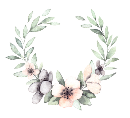 Hand drawn watercolor illustrations. Spring Laurel Wreath with flowers and green leaves. Floral design elements. Perfect for wedding invitations, greeting cards, blogs, logos, prints  Imagens