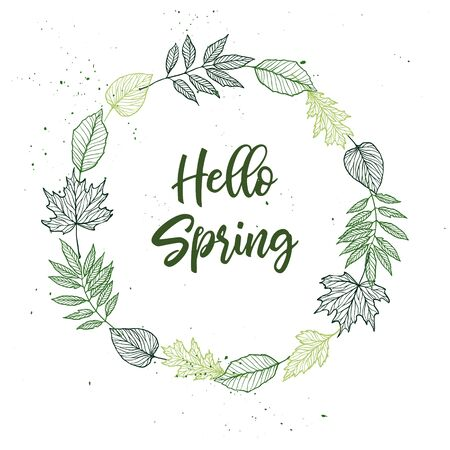 Hand drawn vector illustration. Spring wreath with green leaves, herbs and branches. Floral Design elements. Perfect for wedding invitations, greeting cards, blogs, posters and more