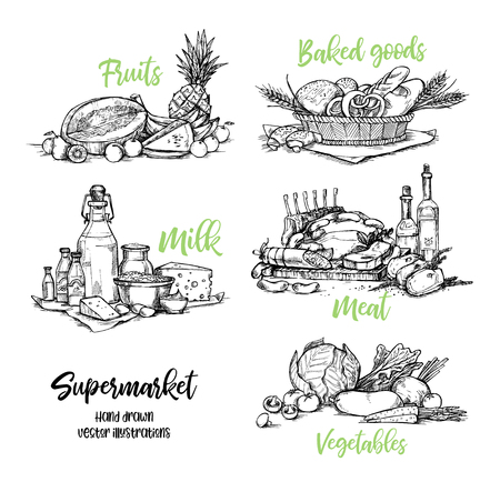 Hand drawn vector illustration. Collection of Supermarket products. Grocery store. Design elements in sketch style. Perfect for brochures, flyers, delivery, poster, advertising.