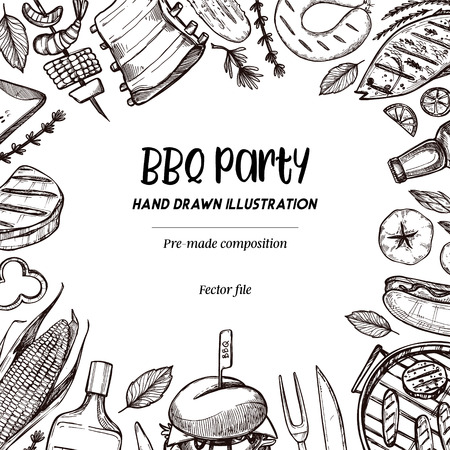 Hand drew vector illustrations. BBQ collection. Barbeque design elements in sketch style. Fast food.