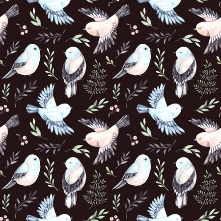 Hand drawn watercolor seamless pattern. Background with cute spring birds, ferns and green branches. Perfect for wrapping paper, fabric, linens, invitations, greeting cards, prints Standard-Bild