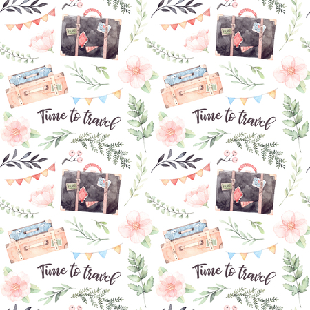 Hand drawn watercolor seamless pattern. Time to travel. Fashion suitcases with stickers, flowers, Lettering, garland with flags. Trip to World. Perfect for invitations, greeting cards, prints, flyers, posters, wrapping paper