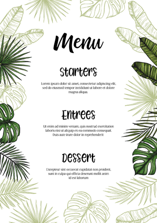 Tropical wedding Menu. Invitation with palm leaves. Hand drawn vector template. Perfect for prints, posters, invitations, greeting cards etc